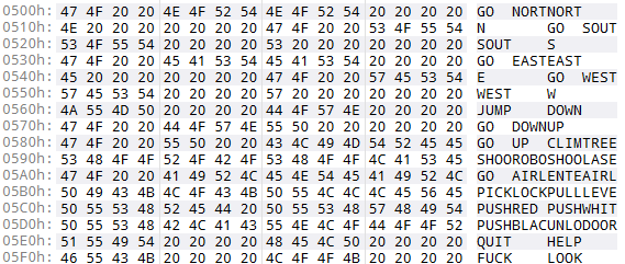 Hex dump showing verbs and nouns
